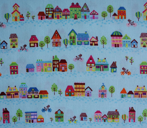 Small Houses in Light Blue - Japanese Fabric - Cotton Shirting - Westex