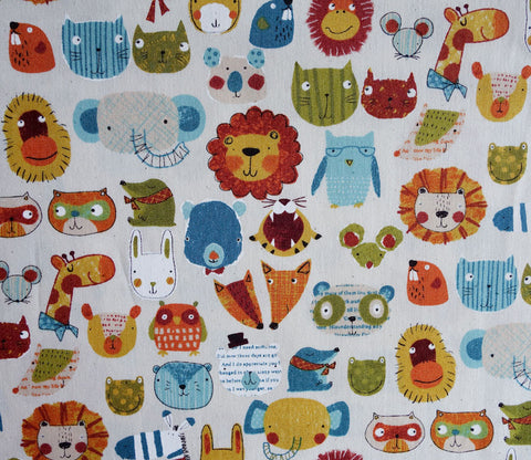 Zoo Animal Faces - Japanese Fabric - Westex
