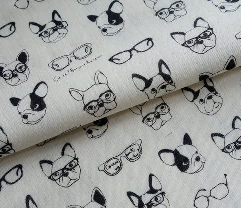 French Bulldogs and Glasses - Double Gauze Fabric
