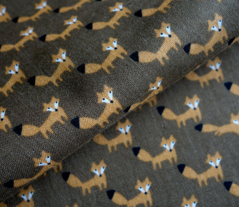 Foxes on Brown - Double Gauze Fabric