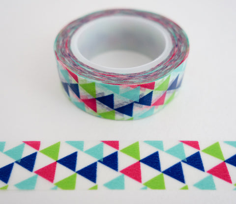 Modern Blue Red Green Triangles Washi Tape