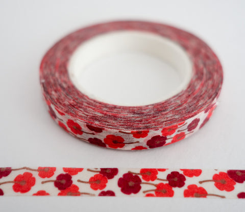Mini Red Flowers - Thin Washi Tape