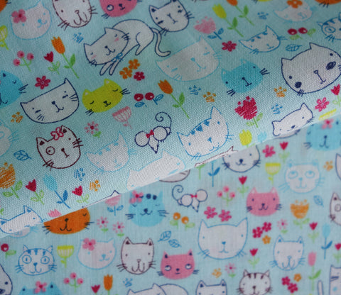 Happy Cats in Light Blue - Japanese Fabric - Cotton Shirting - Westex