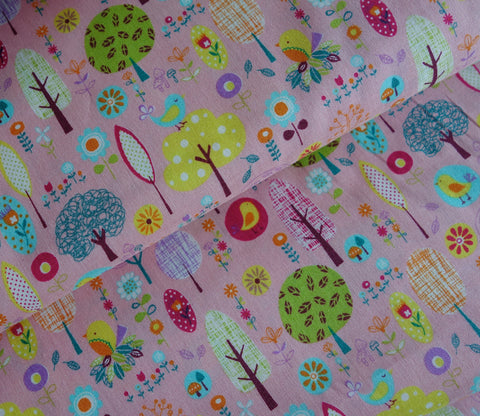 Little Sweet Forest in Pink - Japanese Fabric - Cotton Shirting - Westex