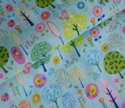 Little Sweet Forest in Light Blue - Japanese Fabric - Cotton Shirting - Westex