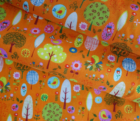 Little Sweet Forest in Orange - Japanese Fabric - Cotton Shirting - Westex
