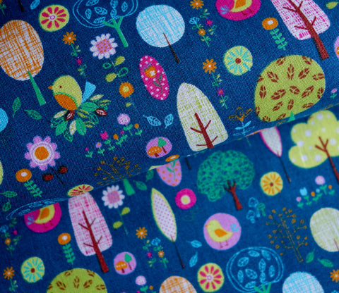Little Sweet Forest in Dark Teal Green - Japanese Fabric - Cotton Shirting - Westex