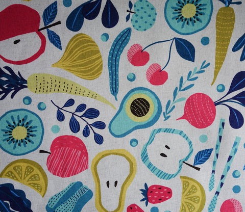 Veggies and Fruits - Cotton Linen Japanese Fabric