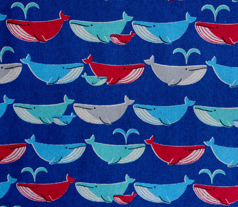 Whale Family in Blue - Cotton Linen Japanese Fabric
