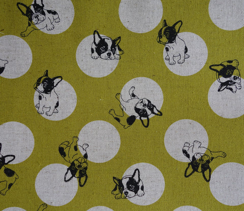 French Bulldogs and Dots - Mustard Yellow - Cotton Linen Japanese Fabric