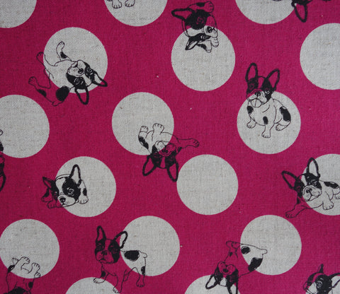 French Bulldogs and Dots - Pink - Cotton Linen Japanese Fabric
