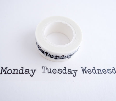 Days of the Week - Typewriter Style - Washi Tape