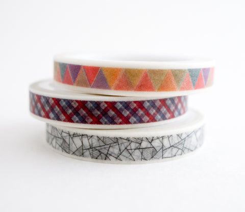 Modern Geometric Patterns - Mini Washi Tape - Set of 3 Rolls
