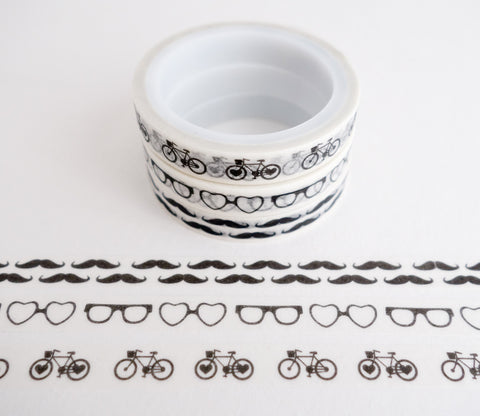 Retro Patterns - Mini Washi Tape - Set of 3 Rolls - Glasses, Mustaches, Bicycles