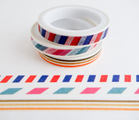 Stripe Patterns - Mini Washi Tape - Set of 3 Rolls