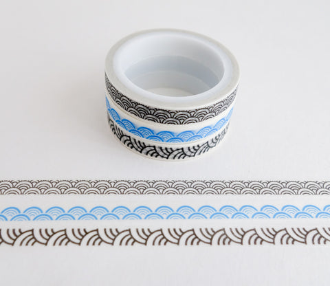 Scalloped Waves Patterns - Mini Washi Tape - Set of 3 Rolls