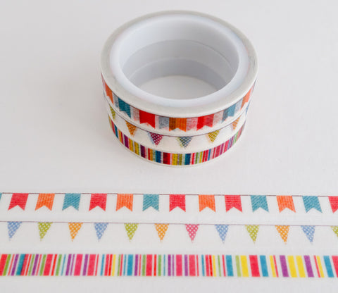 Banner, Bunting and Stripe Patterns - Mini Washi Tape - Set of 3 Rolls