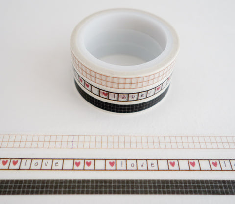 Grid Patterns - Mini Washi Tape - Set of 3 Rolls