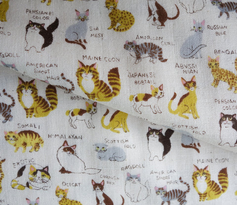 All Kinds of Cats - White - Japanese Double Gauze Fabric