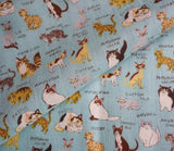 All Kinds of Cats - Light Blue - Japanese Double Gauze Fabric