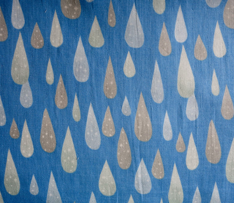 Blue Rain - Water Drops - Japanese Double Gauze Fabric