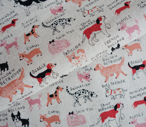 All Kinds of Dogs - Red / Pink - Cotton Linen Japanese Fabric