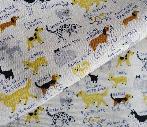 All Kinds of Dogs - Natural / Yellow - Cotton Linen Japanese Fabric