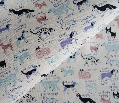 All Kinds of Dogs - Blue - Cotton Linen Japanese Fabric