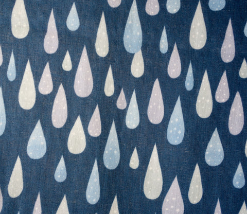 Rain - Water Drops - Dark Blue Japanese Double Gauze Fabric