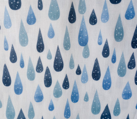 Rain - Water Drops - White Japanese Double Gauze Fabric