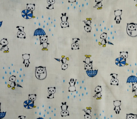 Pandas on Rainy Day in Blue - Double Gauze - Kobayashi Japanese Fabric