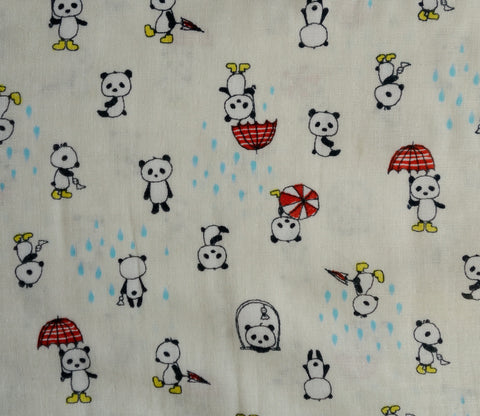 Pandas on Rainy Day in Red - Double Gauze - Kobayashi Japanese Fabric