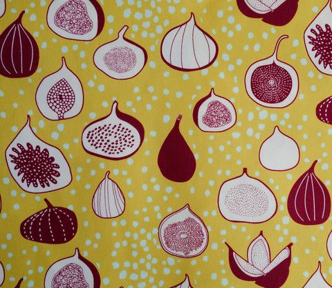 Colorful Figs - Mustard Yellow and Maroon - Fruit Pattern - Hokkoh Japanese Fabric