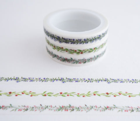 Flower Garland - Mini Washi Tape - Set of 3 Rolls
