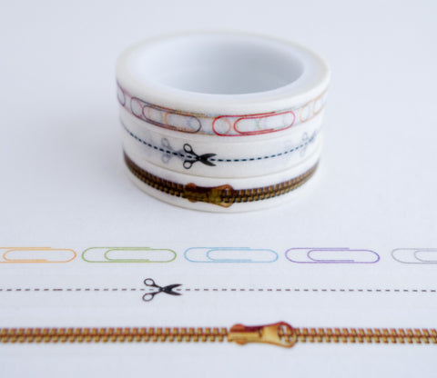 Paper Clip, Scissor, Zipper - Mini Washi Tape - Set of 3 Rolls