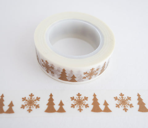 Gold Snowflakes and Trees Washi Tape
