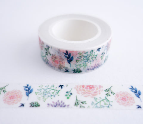 Pink Purple Dahlia Flower Washi Tape - Floral Washi Tape