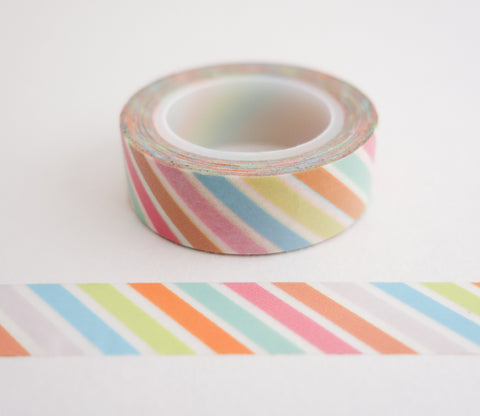 Pastel Diagonal Stripe Washi Tape