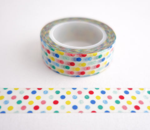 Primary Color Rainbow Dots Washi Tape