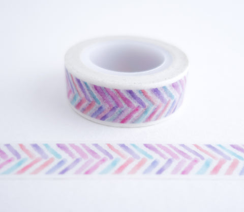 Pastel Painted Feather Stripes Washi Tape
