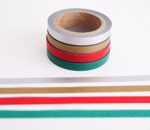 Christmas Holiday Solid Colors - Mini Washi Tape - Set of 4 Rolls