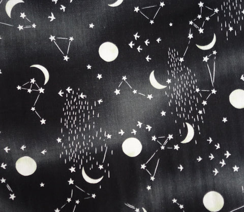 Constellations and Stars - Black - Japanese Double Gauze Fabric