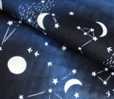 Constellations and Stars - Navy Blue - Japanese Double Gauze Fabric