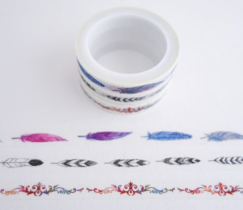 Feather Patterns - Mini Washi Tape - Set of 3 Rolls