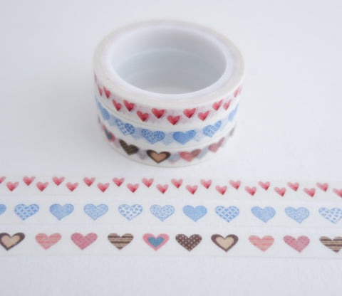 Heart Patterns - Mini Washi Tape - Set of 3 Rolls