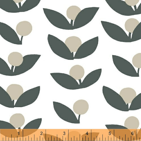 Tove Flowers in Slate Grey - Glimma Canvas Collection - Lotta Jansdotter Fabric