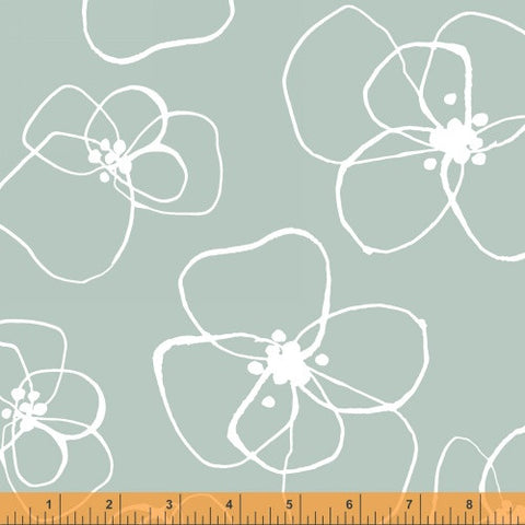 Blomster in Mint - Mormor Collection - Lotta Jansdotter Fabric