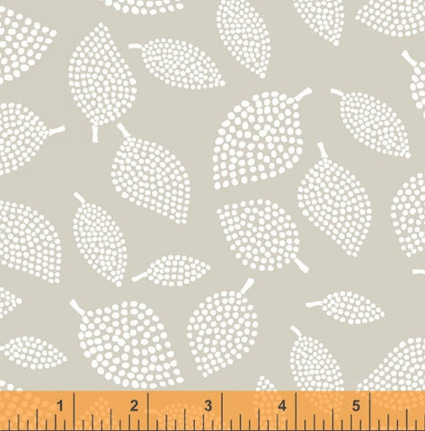 Nopp Leaves in Mist Grey - Mormor Collection - Lotta Jansdotter Fabric