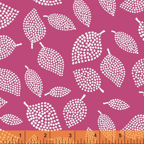 Nopp Leaves in Rubine Fuchsia - Mormor Collection - Lotta Jansdotter Fabric