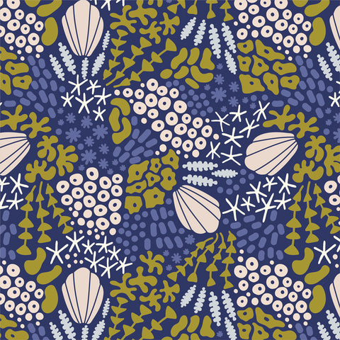 Reef Midnight Blue - Underwater - Elizabeth Olwen - Cloud9 Organic Fabric